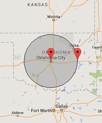 Service area 100 mile radius of Oklahoma City